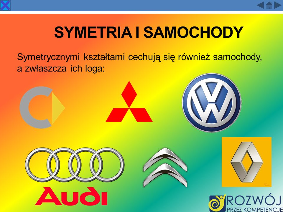 Symetria i samochody Symetrycznymi kształtami cechują się również samochody, a zwłaszcza ich loga: