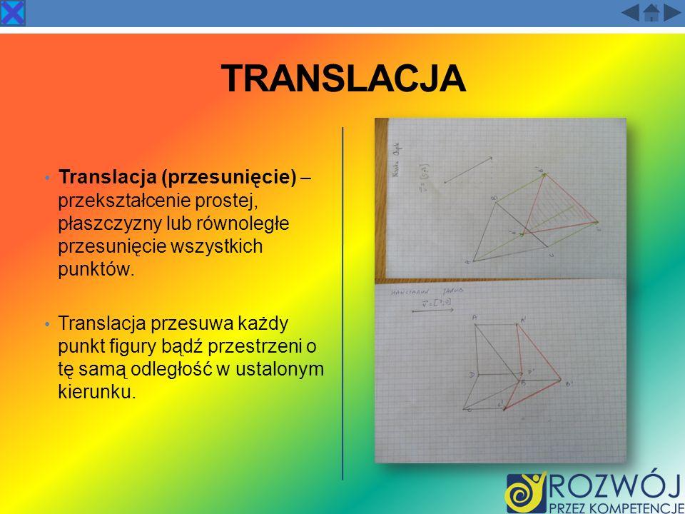 TRANSLACJA Translacja (przesunięcie) – przekształcenie prostej, płaszczyzny lub równoległe przesunięcie wszystkich punktów.