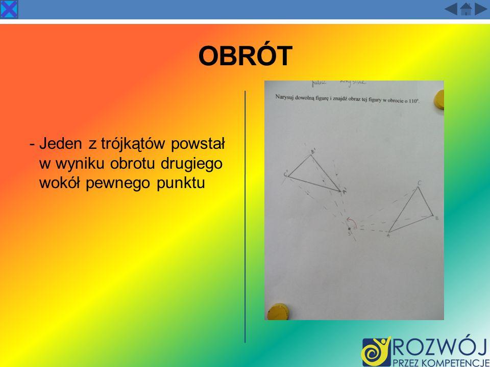 OBRÓT - Jeden z trójkątów powstał w wyniku obrotu drugiego wokół pewnego punktu
