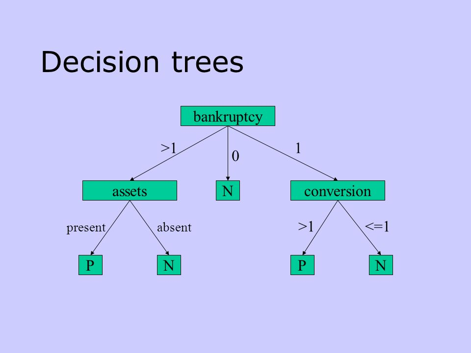 Decision trees bankruptcy >1 1 assets N conversion >1 <=1 P N