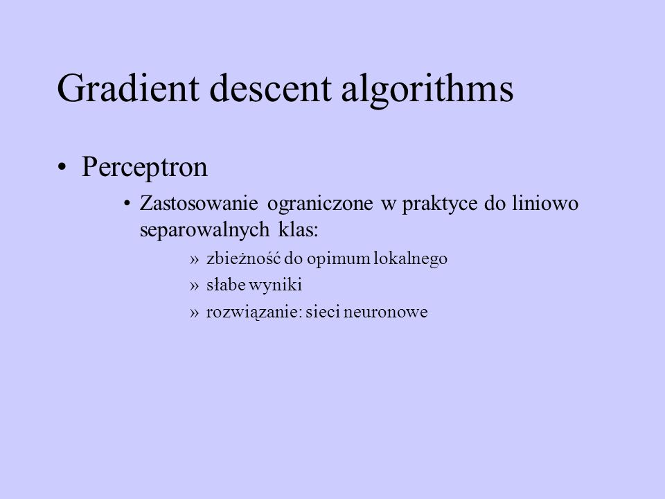 Gradient descent algorithms