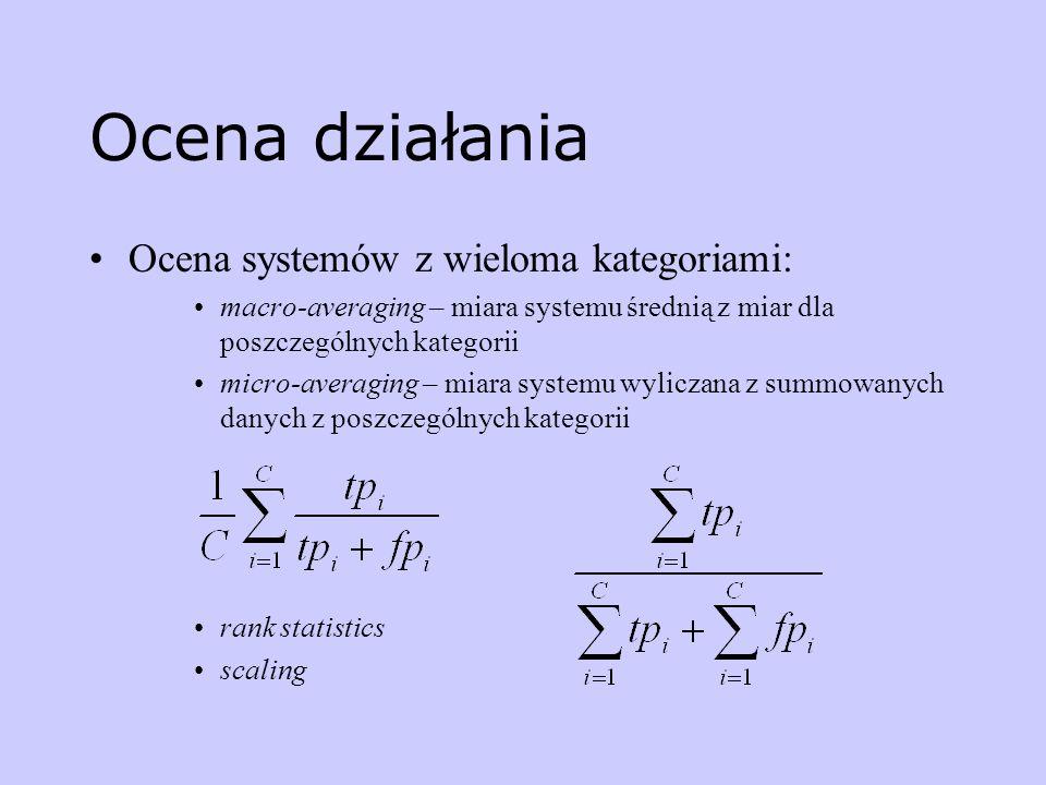 Ocena działania Ocena systemów z wieloma kategoriami: