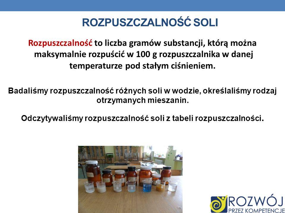 Rozpuszczalność soliRozpuszczalność to liczba gramów substancji, którą można. maksymalnie rozpuścić w 100 g rozpuszczalnika w danej.
