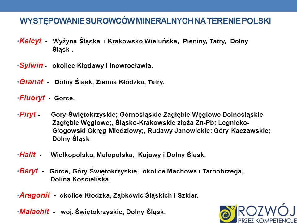 Występowanie Surowców mineralnych na terenie polski