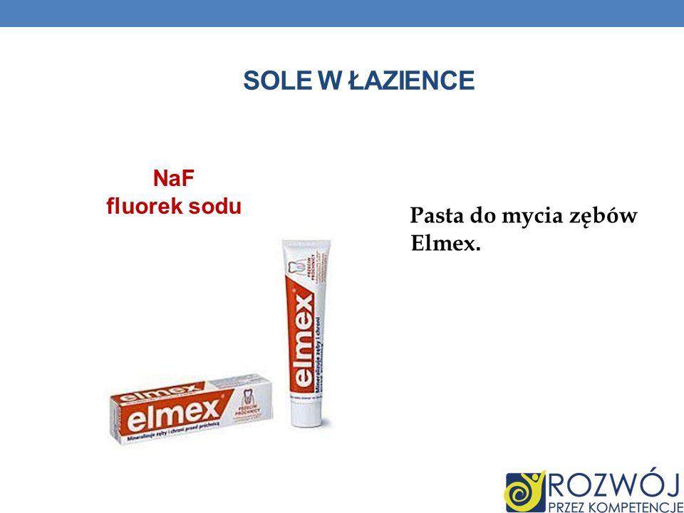 Sole w łazience NaF fluorek sodu Pasta do mycia zębów Elmex.
