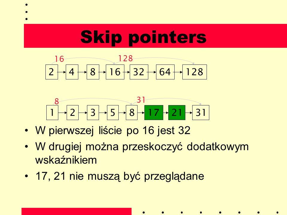 Skip pointers W pierwszej liście po 16 jest 32