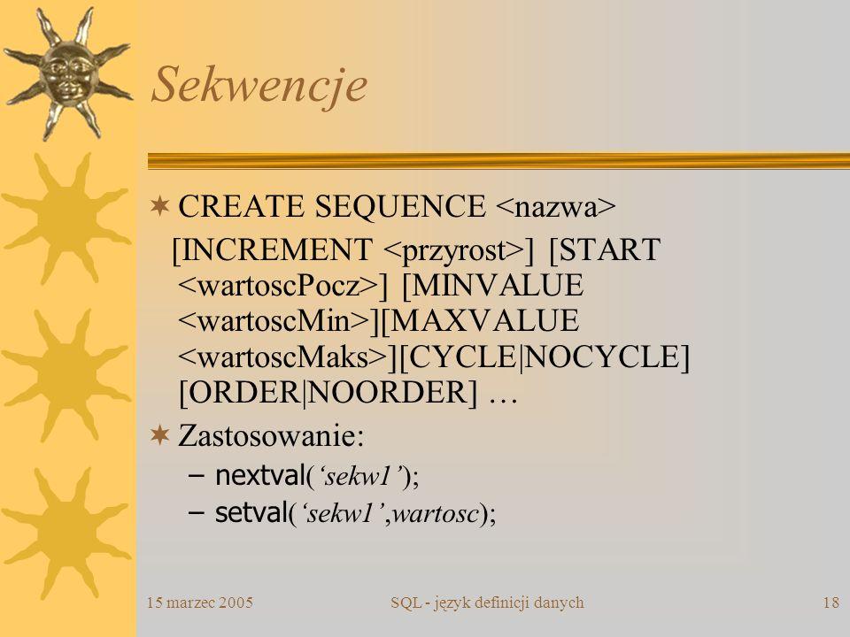 SQL - język definicji danych