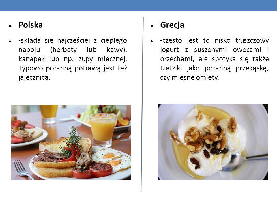 Polska -składa się najczęściej z ciepłego napoju (herbaty lub kawy), kanapek lub np. zupy mlecznej. Typowo poranną potrawą jest też jajecznica.