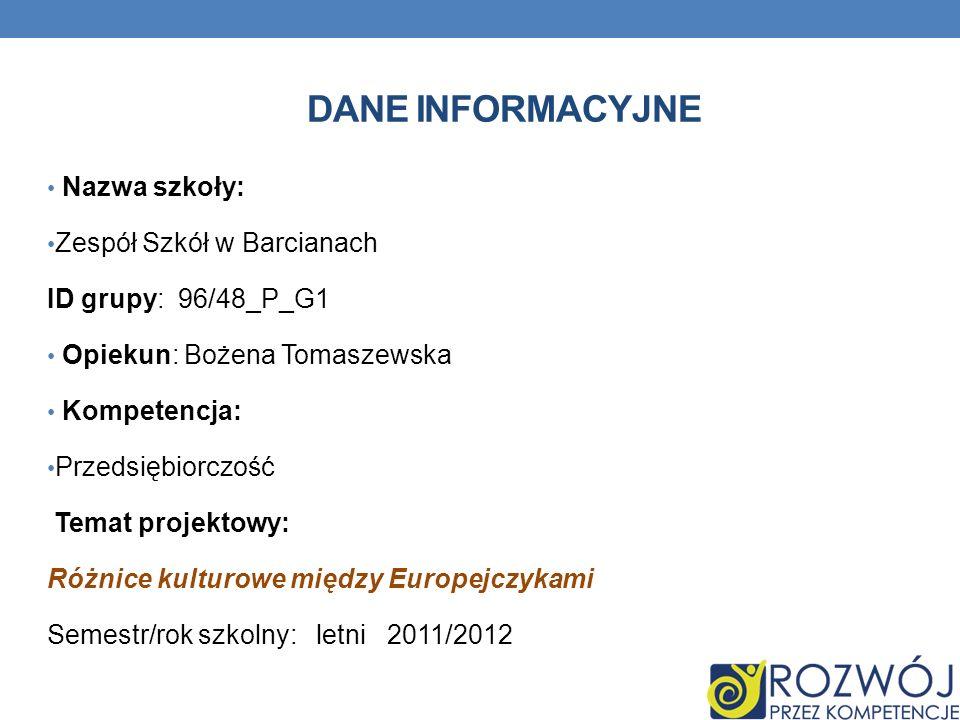 Dane INFORMACYJNE Nazwa szkoły: Zespół Szkół w Barcianach
