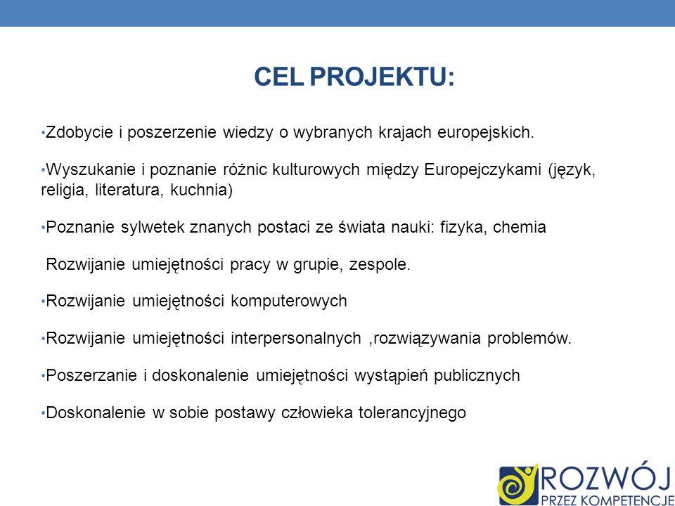Cel projektu: Zdobycie i poszerzenie wiedzy o wybranych krajach europejskich.