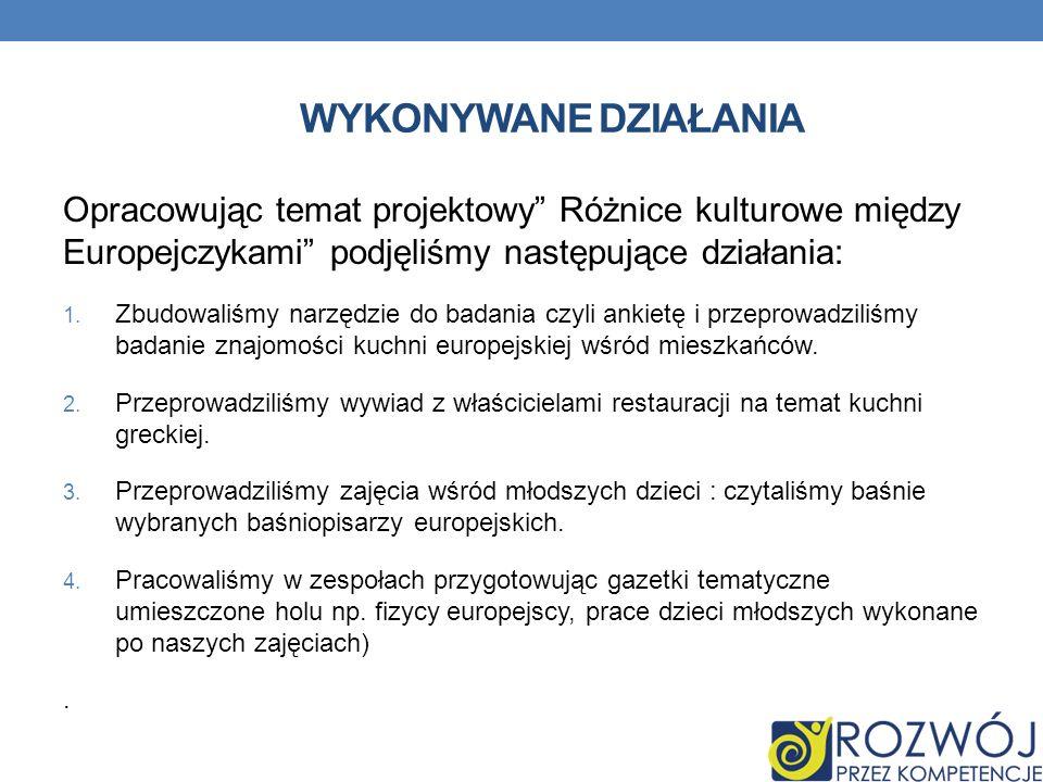 wykonywane działania Opracowując temat projektowy Różnice kulturowe między Europejczykami podjęliśmy następujące działania: