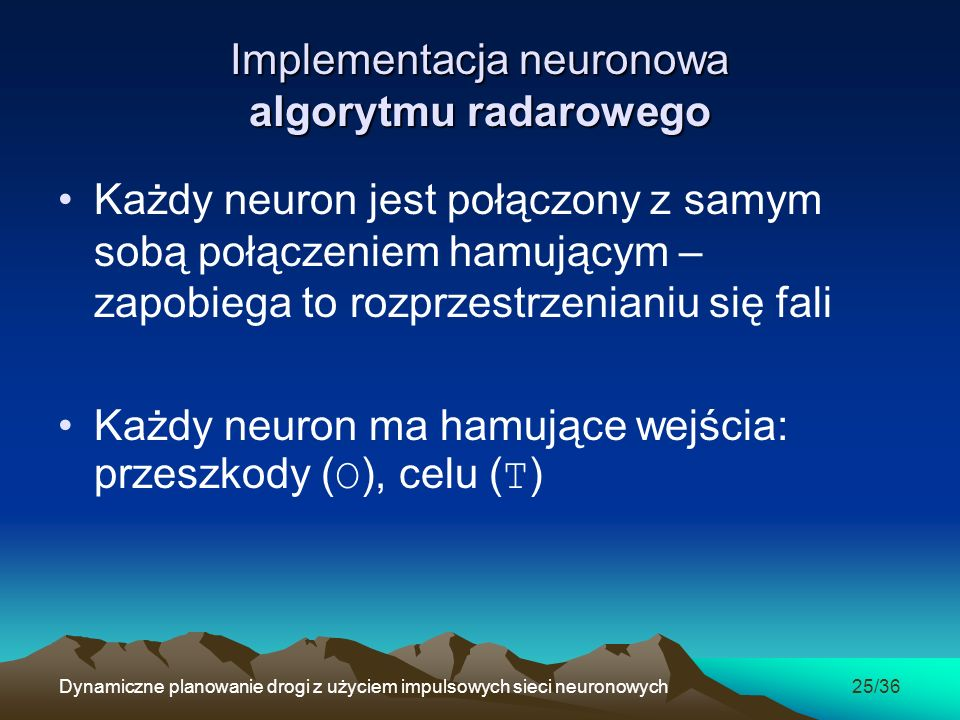 Implementacja neuronowa algorytmu radarowego