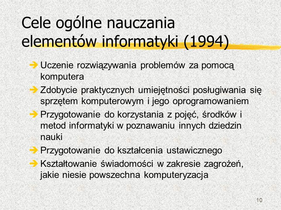 Cele ogólne nauczania elementów informatyki (1994)