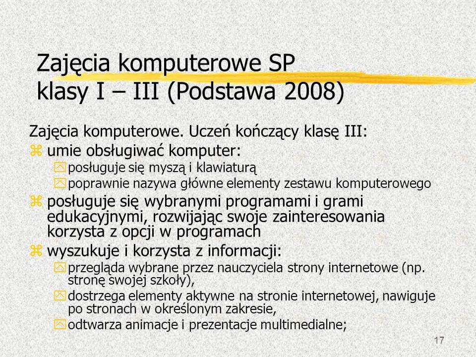 Zajęcia komputerowe SP klasy I – III (Podstawa 2008)