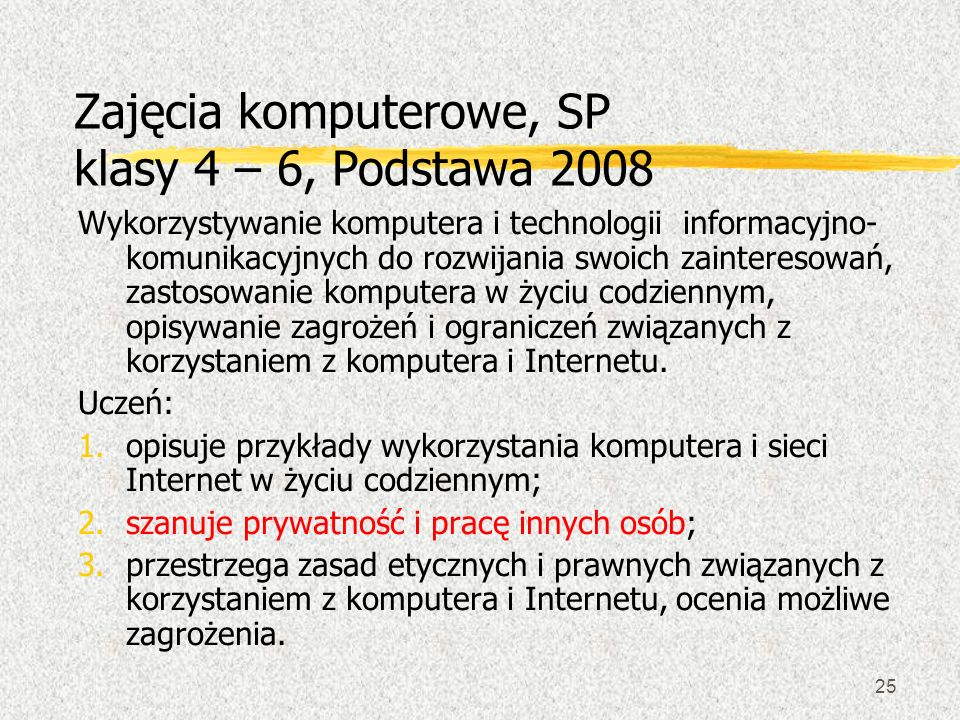 Zajęcia komputerowe, SP klasy 4 – 6, Podstawa 2008