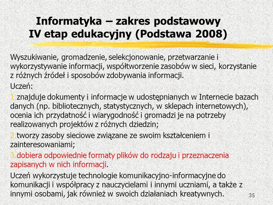 Informatyka – zakres podstawowy IV etap edukacyjny (Podstawa 2008)