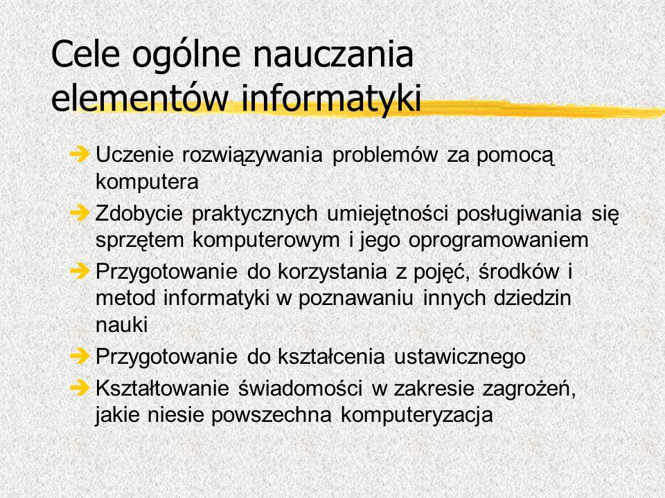 Cele ogólne nauczania elementów informatyki
