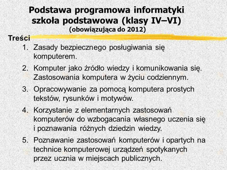 Podstawa programowa informatyki szkoła podstawowa (klasy IV–VI) (obowiązująca do 2012)