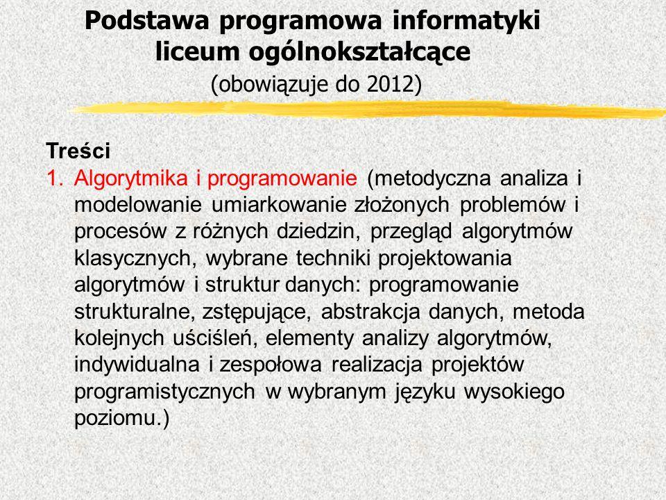 Podstawa programowa informatyki liceum ogólnokształcące (obowiązuje do 2012)