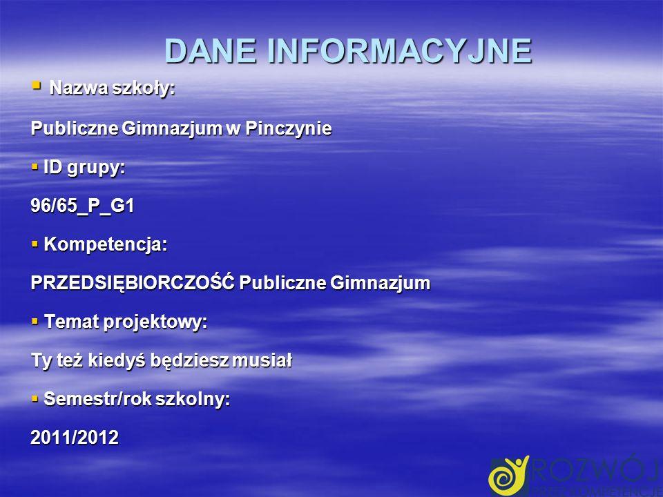 DANE INFORMACYJNE Nazwa szkoły: Publiczne Gimnazjum w Pinczynie