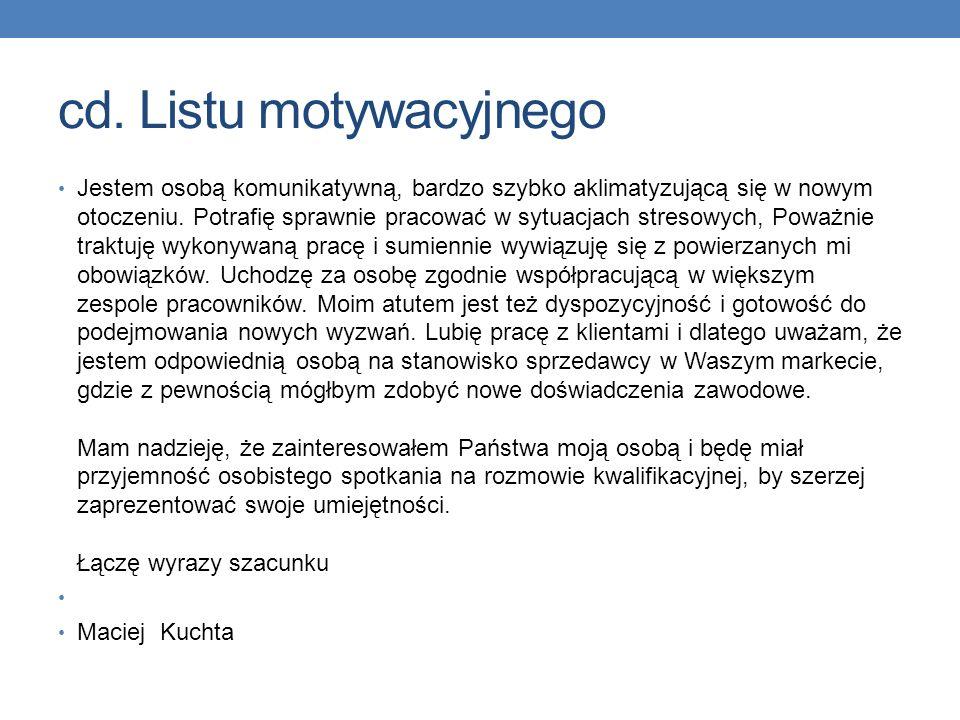 cd. Listu motywacyjnego