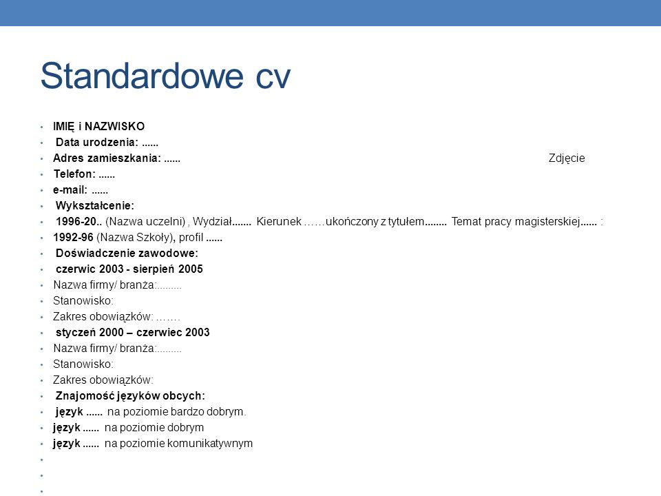 Standardowe cv IMIĘ i NAZWISKO Data urodzenia: ......