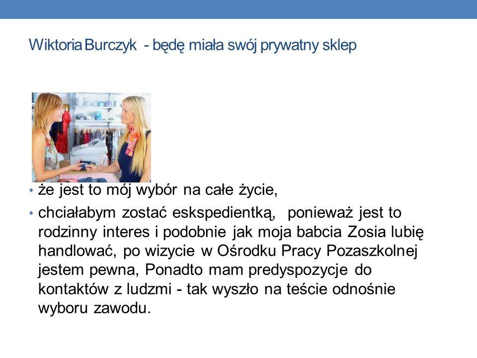 Wiktoria Burczyk - będę miała swój prywatny sklep