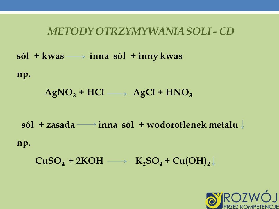 METODY OTRZYMYWANIA SOLI - CD