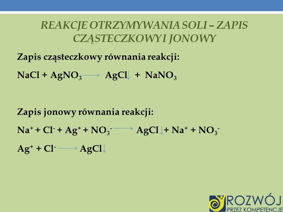 Reakcje otrzymywania soli – zapis cząsteczkowy i jonowy