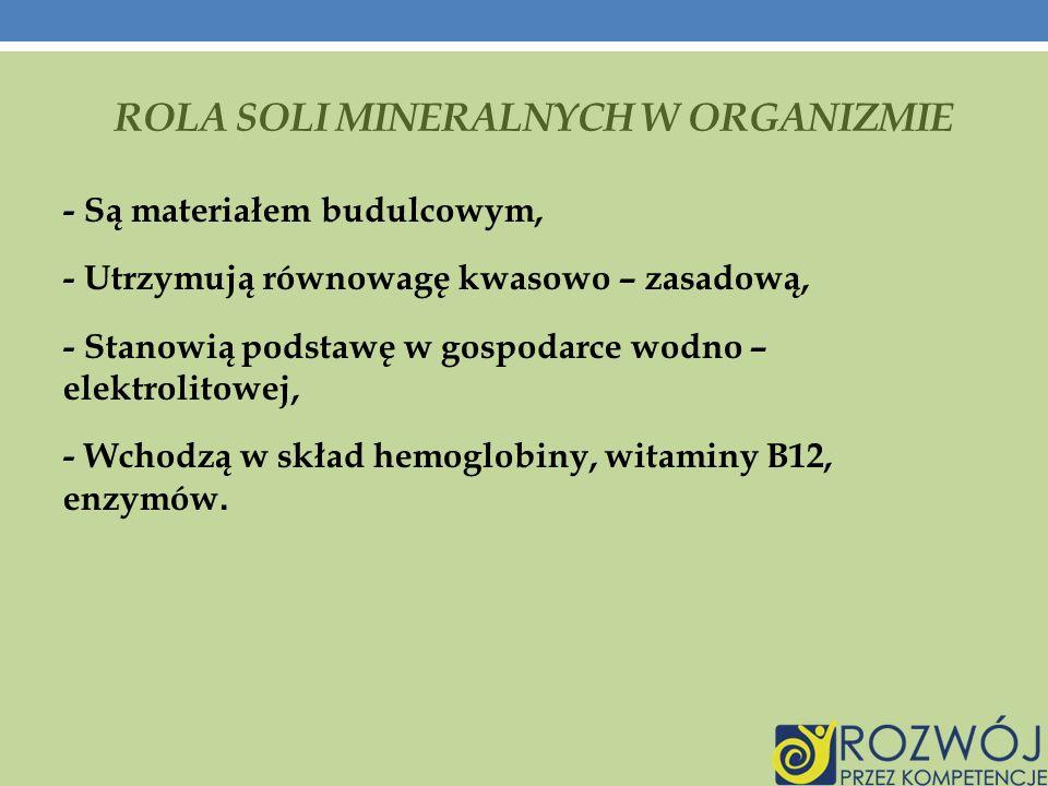 Rola soli mineralnych w organizmie