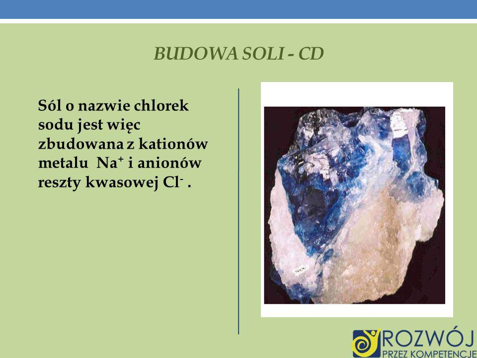 BUDOWA SOLI - CD Sól o nazwie chlorek sodu jest więc zbudowana z kationów metalu Na+ i anionów reszty kwasowej Cl- .