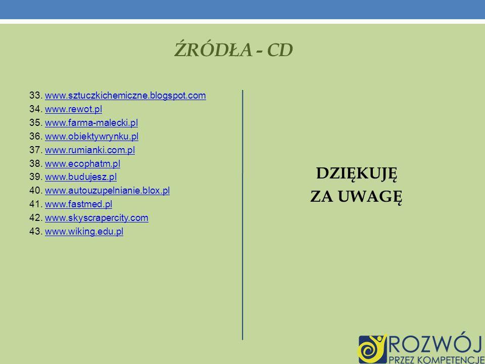 ŹRÓDŁA - CD DZIĘKUJĘ ZA UWAGĘ