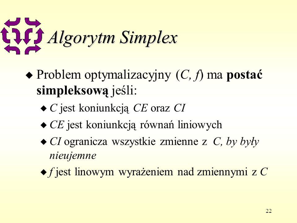 Algorytm SimplexProblem optymalizacyjny (C, f) ma postać simpleksową jeśli: C jest koniunkcją CE oraz CI.