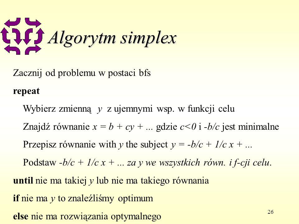 Algorytm simplex Zacznij od problemu w postaci bfs repeat