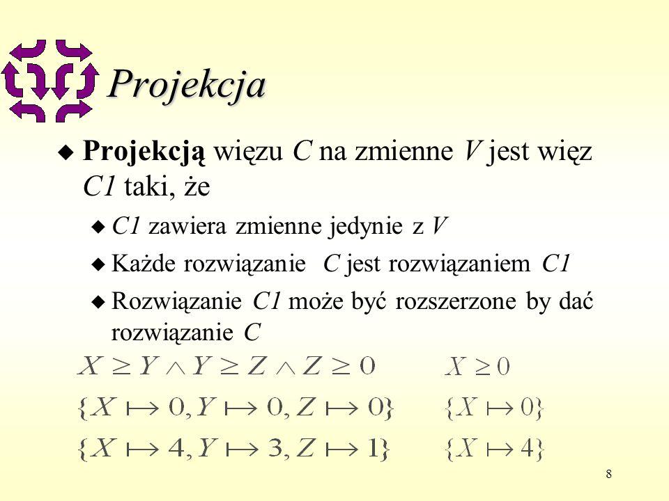 Projekcja Projekcją więzu C na zmienne V jest więz C1 taki, że