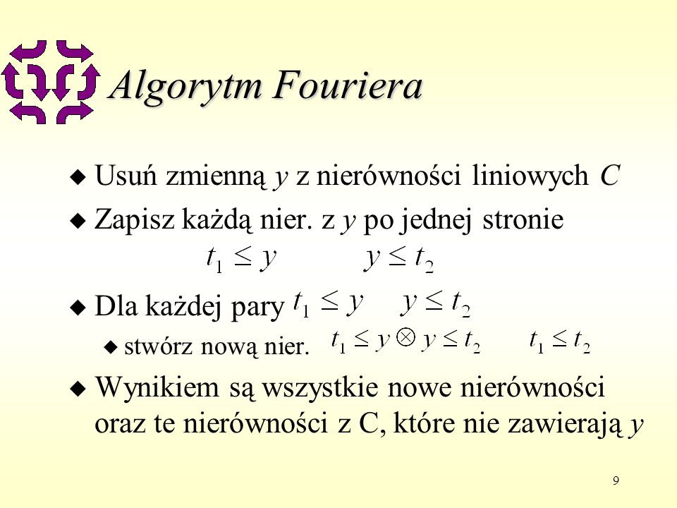 Algorytm Fouriera Usuń zmienną y z nierówności liniowych C