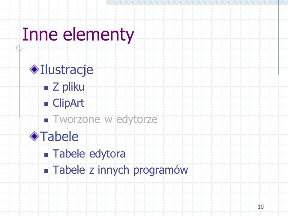 Inne elementy Ilustracje Tabele Z pliku ClipArt Tworzone w edytorze