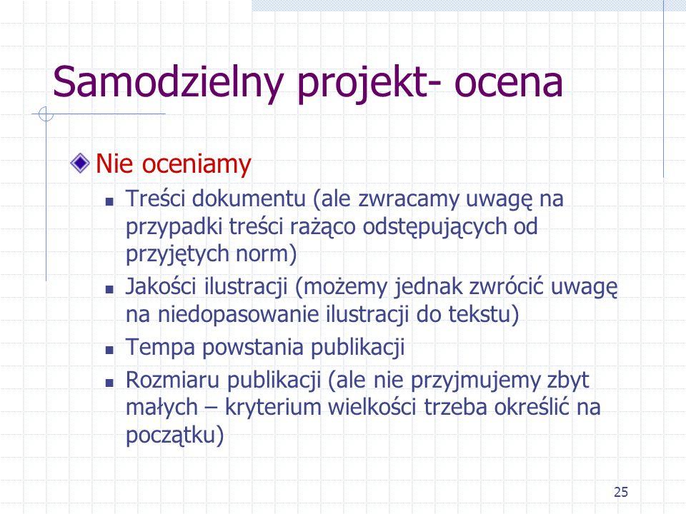 Samodzielny projekt- ocena
