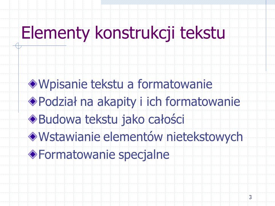 Elementy konstrukcji tekstu