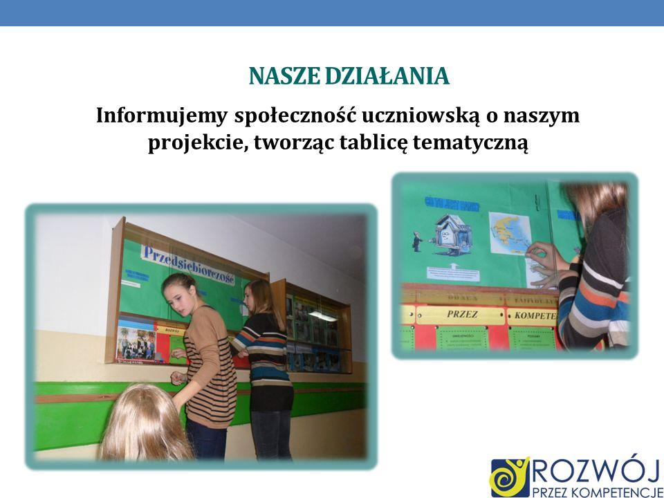 Nasze działania Informujemy społeczność uczniowską o naszym projekcie, tworząc tablicę tematyczną