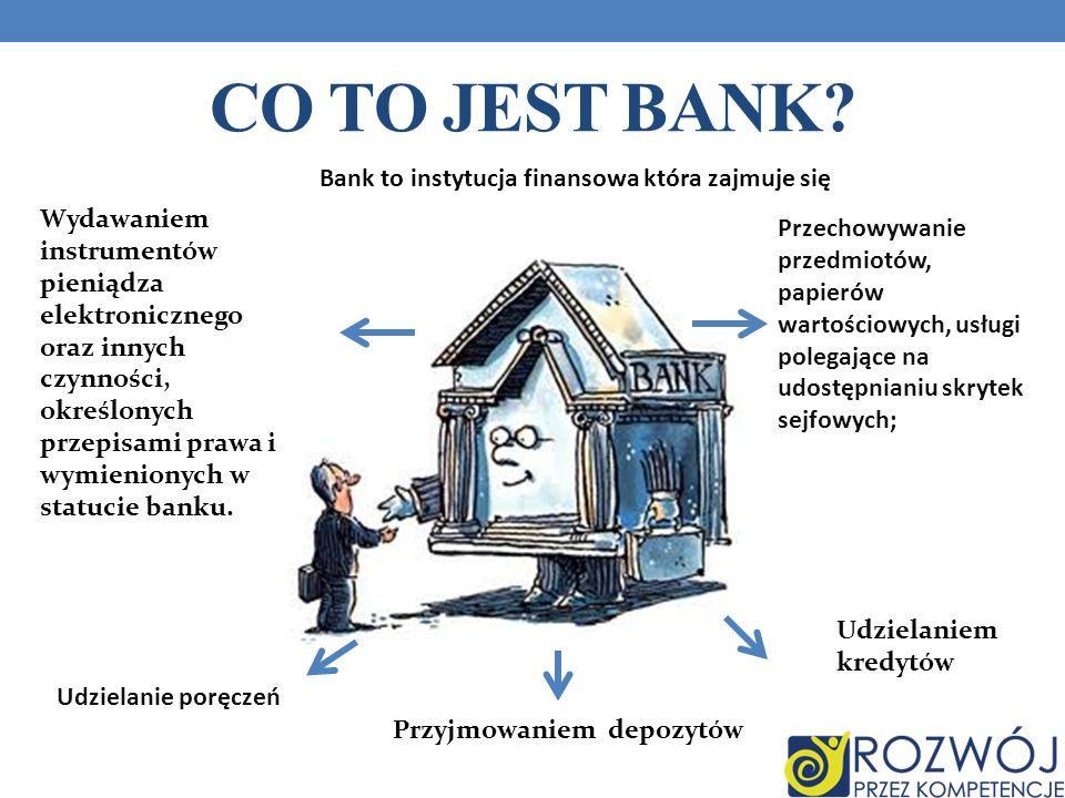 Bank to instytucja finansowa która zajmuje się