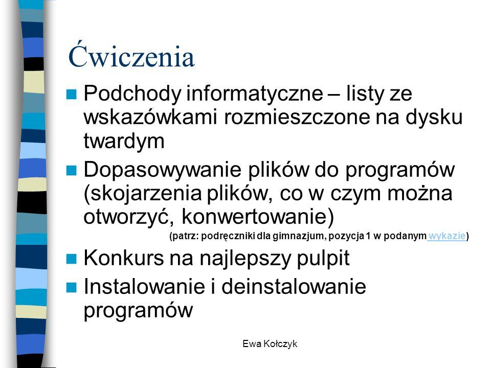 Ćwiczenia Podchody informatyczne – listy ze wskazówkami rozmieszczone na dysku twardym.