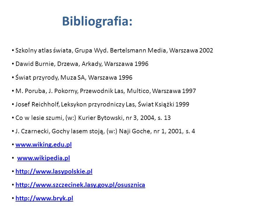 Bibliografia: Szkolny atlas świata, Grupa Wyd. Bertelsmann Media, Warszawa 2002. Dawid Burnie, Drzewa, Arkady, Warszawa 1996.