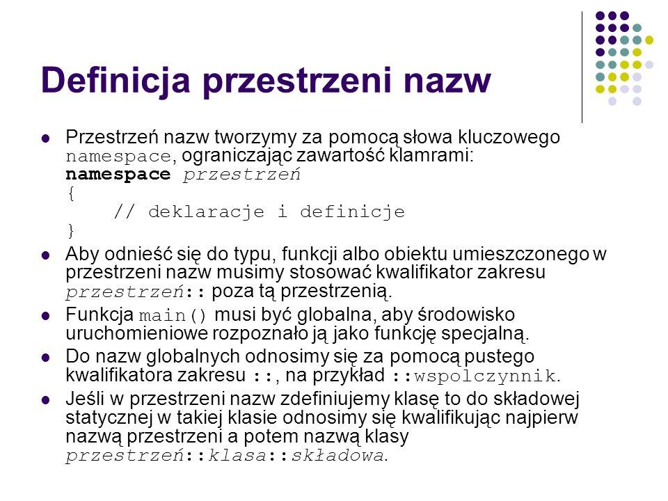 Definicja przestrzeni nazw