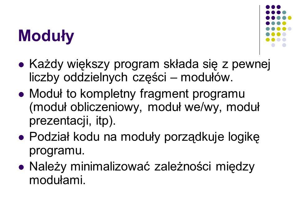 Moduły Każdy większy program składa się z pewnej liczby oddzielnych części – modułów.