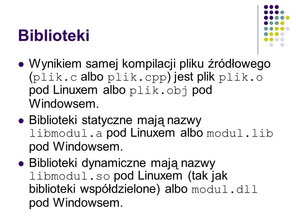 Biblioteki Wynikiem samej kompilacji pliku źródłowego (plik.c albo plik.cpp) jest plik plik.o pod Linuxem albo plik.obj pod Windowsem.