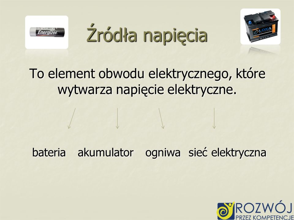 Źródła napięcia To element obwodu elektrycznego, które wytwarza napięcie elektryczne.