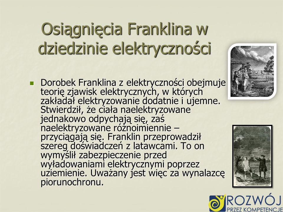 Osiągnięcia Franklina w dziedzinie elektryczności