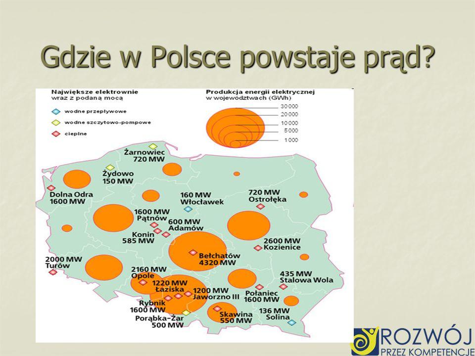 Gdzie w Polsce powstaje prąd