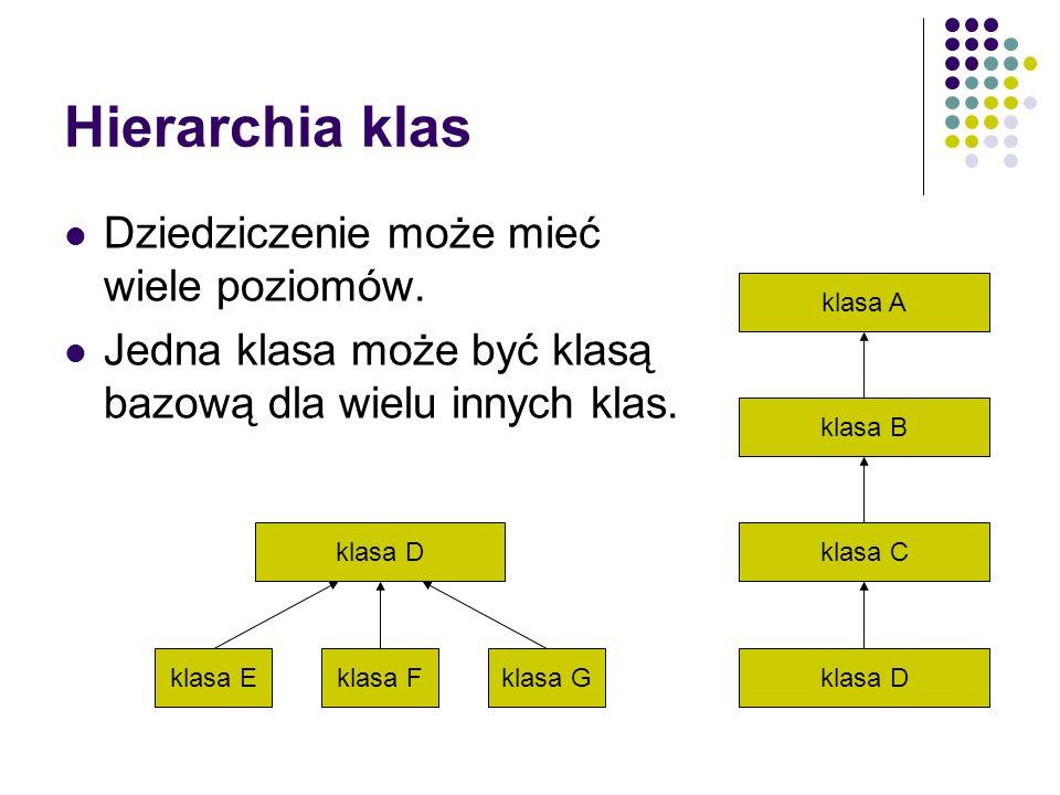 Hierarchia klas Dziedziczenie może mieć wiele poziomów.